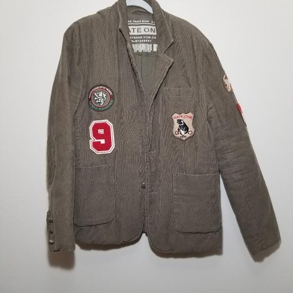 Vintage GateOne Tan Corduroy Jacket w Patches - M